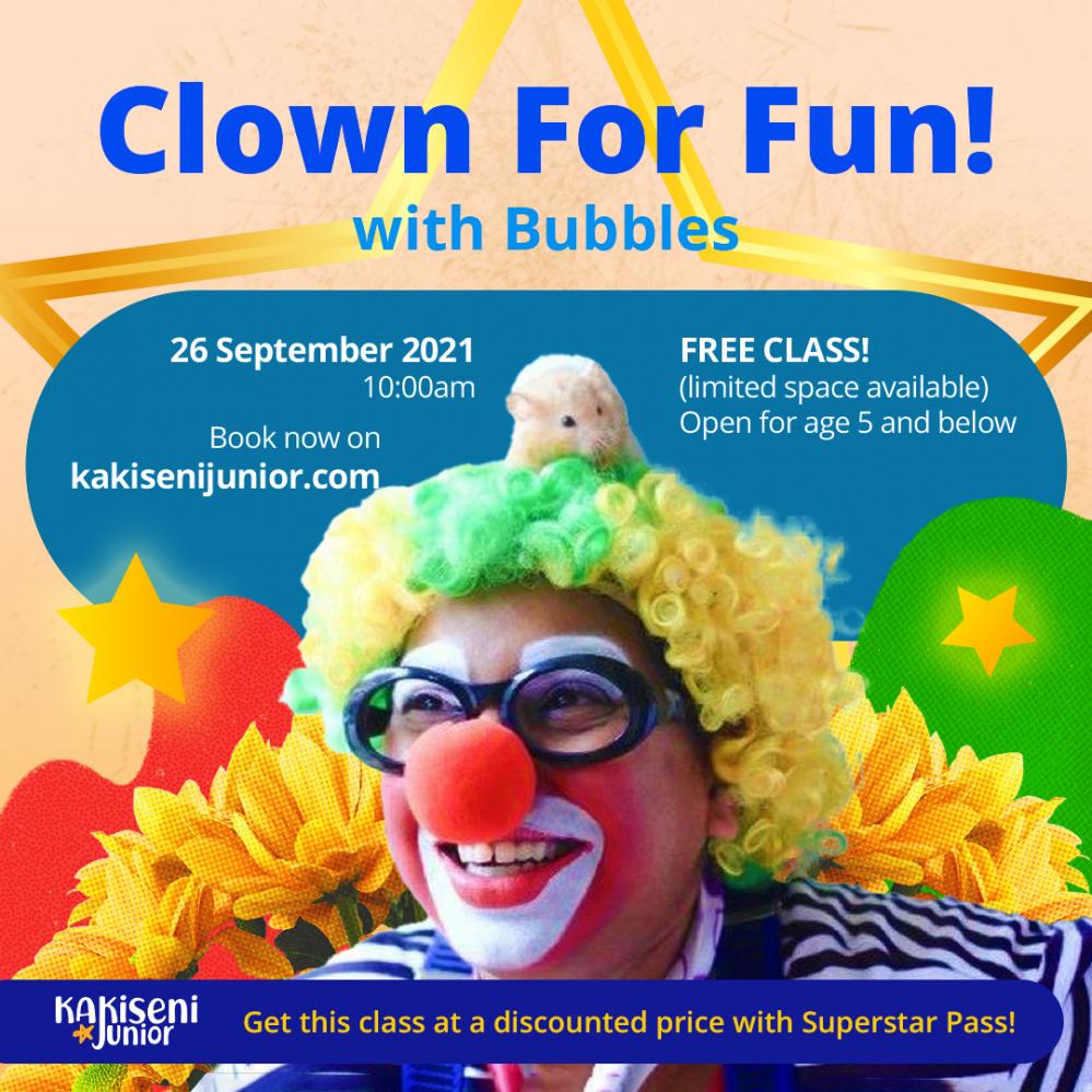 FREE! Kakiseni Junior Clown For Fun with Bubbles The Clown!